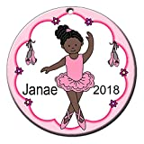 Mandy's Moon Personalized Gifts Ballerina Ornament - African American Girl
