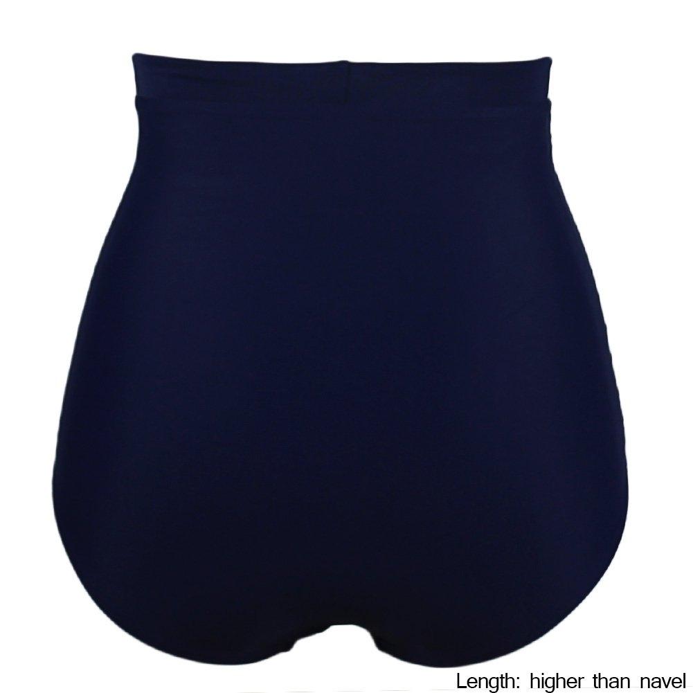 Qiaoer Women\'s Retro Black High Waisted Bikini Bottom Ruched Swim Short Tankinis Briefs (Dark Blue, S)