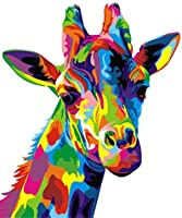Paint by Numbers for Adult, DIY Paint by Number Kits for Kids Beginner on Canvas Painting, Colorful Giraffe 16x20inch