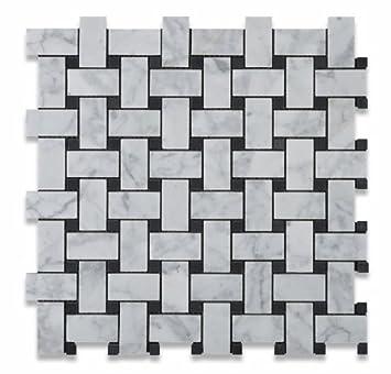 Bianco Carrara White Marble Honed Basketweave Mosaic Tile with Black ...
