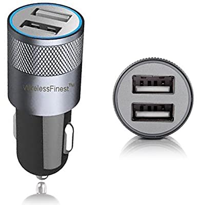 Car Charger, WirelessFinest, Dual Port 3.1A USB Car Charger Adapter for Apple iPhone 6/6 Plus/5s/5c/5/4s/4, Apple iPad 4/3/2/Mini/Air/2, Apple iPod, Samsung Galaxy S6/S5/S4/S3/Tab 4, Motorola, HTC Phone and other USB powered devices (Black) by WirelessFin