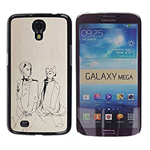 YOYOYO Smartphone Protección Defender Duro Negro Funda Imagen Diseño Carcasa Tapa Case Skin Cover Para Samsung Galaxy Mega 6.3 I9200 SGH-i527 - dibujo a mano miedo, dos niñas hablando