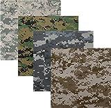 4 Pack - Bandanas Digital Camouflage Cotton Military Headwraps 22'' x 22''