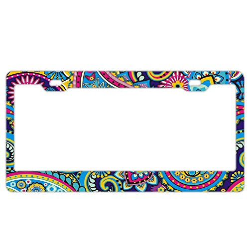 Mix Paisley - Abstract Paisley Mix Custom License Plate Frame for Women/Girls, Paisley Car License Plate Cover for US Front or Back License Tag Aluminum Metal