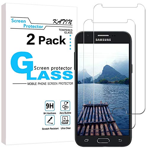 KATIN Galaxy J3 2017 / J3 Emerge / J3 Prime / J3 Eclipse / J3 Mission / J3 Luna Pro Screen Protector - [2-Pack] (Japan Tempered Glass) Easy to Install with Lifetime Replacement Warranty