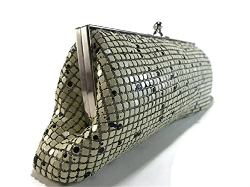 strap purses Wedding chain Metal evening clutch handbags Vintage for Womens Mesh Beige shoulder with Prom Party 6XFzxvnTq