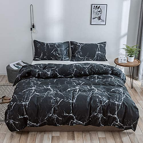 LAMEJOR Duvet Cover Set Twin Size Abstract Style Modern Marble Pattern Reversible Luxury Soft Bedding Set Comforter Cover 1 Duvet Cover+2 Pillowcases Black//White