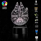 3D Lamp Table Night Light – Wpky 3D Illusion Lamp 7 Color Change LED Desk Light with Multicolored USB Power for Living Bed Room Bar Best Gift Toys (Millennium Falcon)