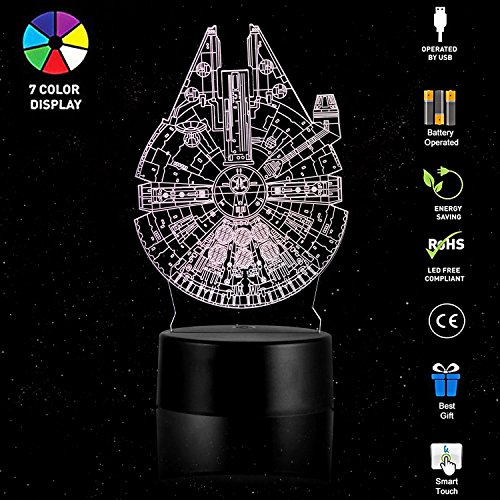 3D Lamp Table Night Light – Wpky 3D Illusion Lamp 7 Color Change LED Desk Light with Multicolored USB Power for Living Bed Room Bar Best Gift Toys (Millennium ()