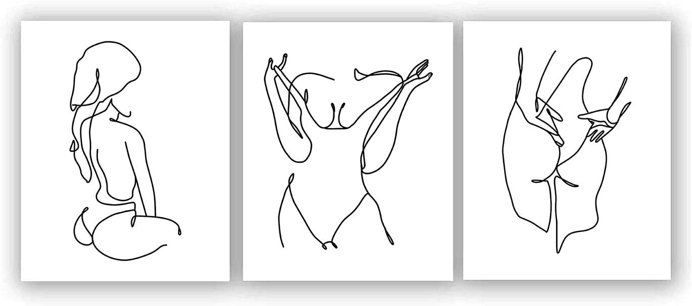 """VOUORON Nordic Fashion Female Nude Line Modern Minimalist Art Painting,Set of 3 (8""""X10"""" Canvas Picture),Wall Art Pictures for Bathroom or Bedroom Home Decor,Women Girl Gift,No Frame"""