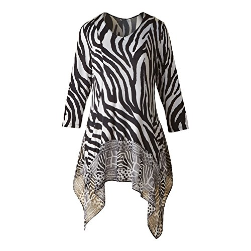 CATALOG CLASSICS Women's Tunic Top - Black & White Zebra Safari Print Flutter Hem Blouse - 1X