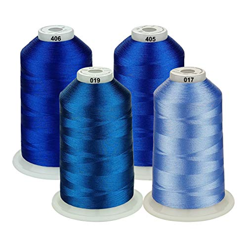 - Simthread 42 Options Various Assorted Color Packs of Polyester Embroidery Machine Thread Huge Spool 5000M for All Embroidery Machines (Blue Series)