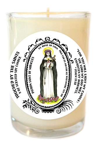 Saint Rose of Lima Patron of Miracles 8 Oz Scented Soy Glass Prayer Candle by Touched By The Saints