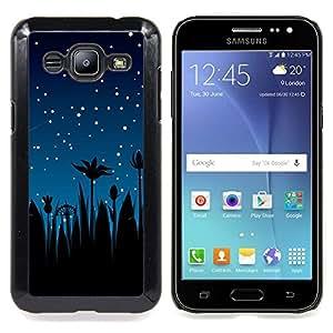 """Qstar Arte & diseño plástico duro Fundas Cover Cubre Hard Case Cover para Samsung Galaxy J2 / J200 (Estrellas del cielo nocturno Blue Stars Shooting palmeras"""")"""