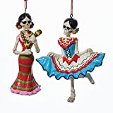 Kurt Adler 1 Set 2 Assorted Day of The Dead Female Skeleton Dancing And Maracas Christmas Ornaments
