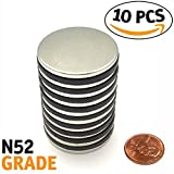 Magnissimo! Neodymium Magnets N52 [10 pcs] Earth Magnets Disc 1.26''D x 0.1''H Perfect for DIY, Arts & Crafts, Misti, Home, School, Science and Office Projects. Extra Strong Magnets