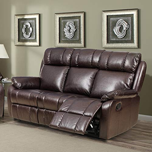 Sofa Leather Sofa Recliner Couch Manual Reclining Sofa Recliner Chair, Love Seat,and Sofa (3 Seater) for Living Room ()