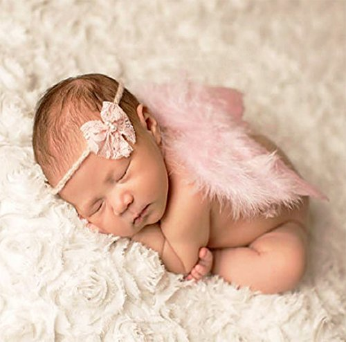 Creationtop White Feather Angel Wings for 6-18 month Baby (Pink wings/Bow headband) (Cupid Bow And Feathers)