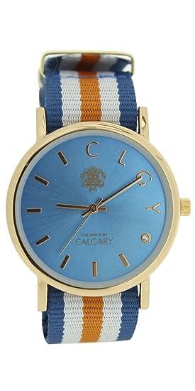 Relojes Calgary Palm Beach esfera azul turquesa con correa a rayas naranja, azul y blanco: Relojes Calgary: Amazon.es: Relojes