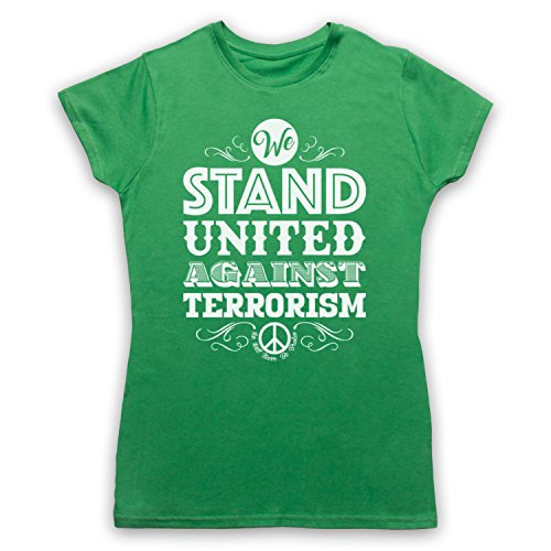 We Stand United Against Terror We Will Never Be Broken Camiseta para Mujer Verde