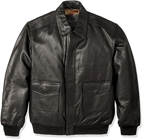 Excelled Men's Big and Tall Leather Flight Jacket, Black,...