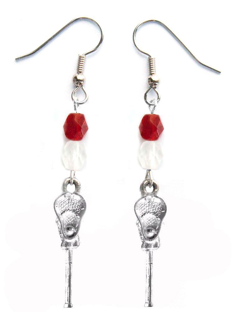 ''Lacrosse Stick & Ball'' Lacrosse Earrings (Team Colors Crimson & White)