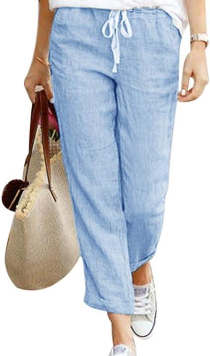 Romose Pantalones De Verano De Lino Para Mujer 7 8 De Longitud Pantalones Ligeros De Playa Suave Confortable Suelto Color Solido Pantalones Harem Para Trotar Con Cordones Amazon Com Mx Ropa Zapatos Y Accesorios