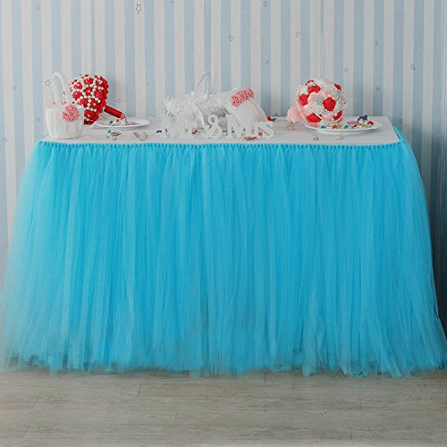 """B-COOL Tutu Table Skirt of Anti-wrinkle Lining Queen Wonderland Tutu Table Cloth European Style Wedding Banquet Festival Party Tutu Stage Skirting 39""""x31.5"""" Baby Blue"""