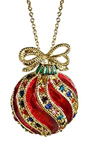 Bejeweled Christmas Holiday Fancy Ornament 22 Inch Pendant Necklace BC1240N