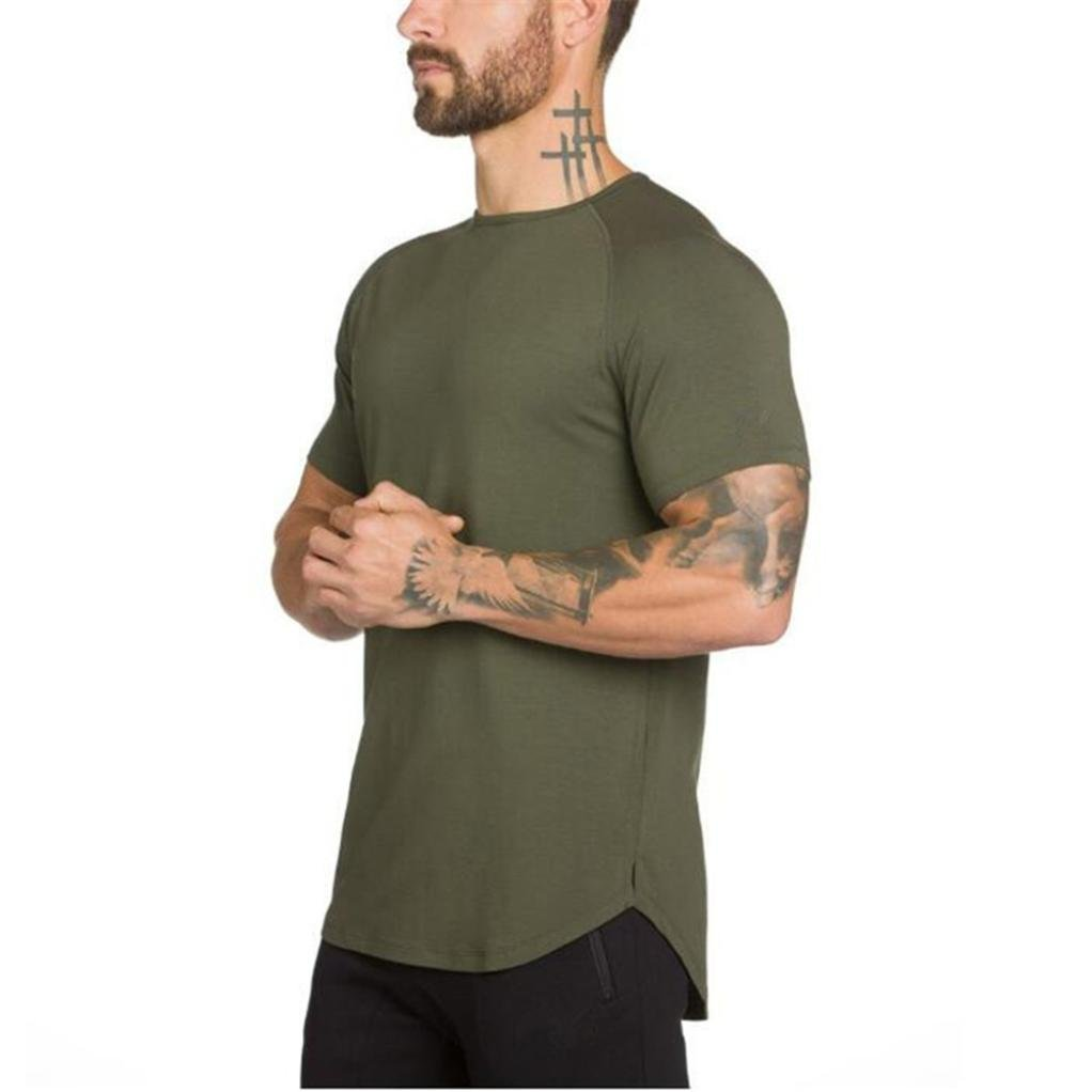 4abb481873d63 Amazon.com  Wintialy Men s Gyms Crossfit Bodybuilding Fitness Muscle Short  Sleeve T-Shirt Top Blouse  Clothing