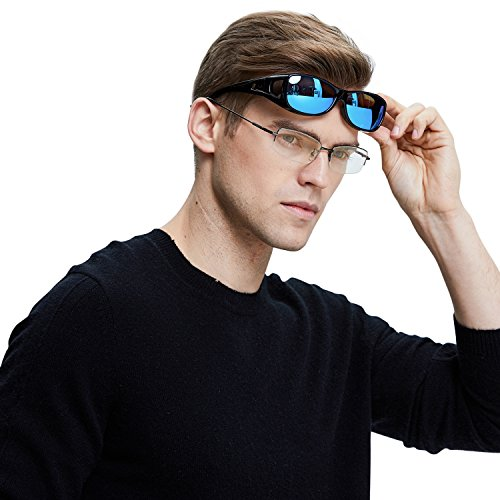 Duco Unisex Wear Over Prescription Glasses Rx Glasses Polarized Sunglasses 8953(Common Size Black Frame Revo Blue Lens)