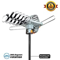 Wireless Remote -Outdoor HDTV Antenna-KiTz Digital TV Antenna 150 Miles Range 360° Rotation Outdoor Digital HDTV Antenna