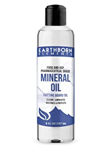 Mineral Oil (8 oz.) by Earthborn Elements, Food & USP Grade, for Cutting Boards, Butcher Blocks, Counter Tops, Wooden Utensils