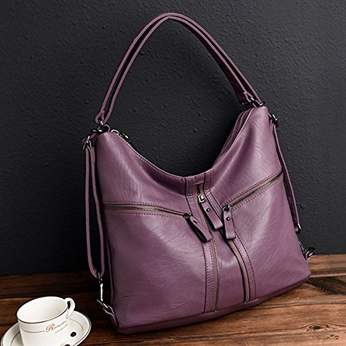 Handbags Backpack Bags Purple Women OURBAG for Soft Bag Crossbody Large Ladies Leather Hobo Shoulder r7wr0q6
