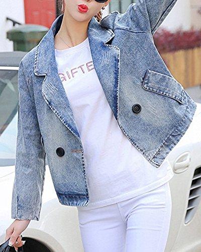Donna Corta Manica Slim Denim estate Immagine Jeans Risvolto Primavera Moda Cappotto Giubbotto Con Tasca Come Giacca Lunga Classica Casual Outwear Fit xOOq0rIn