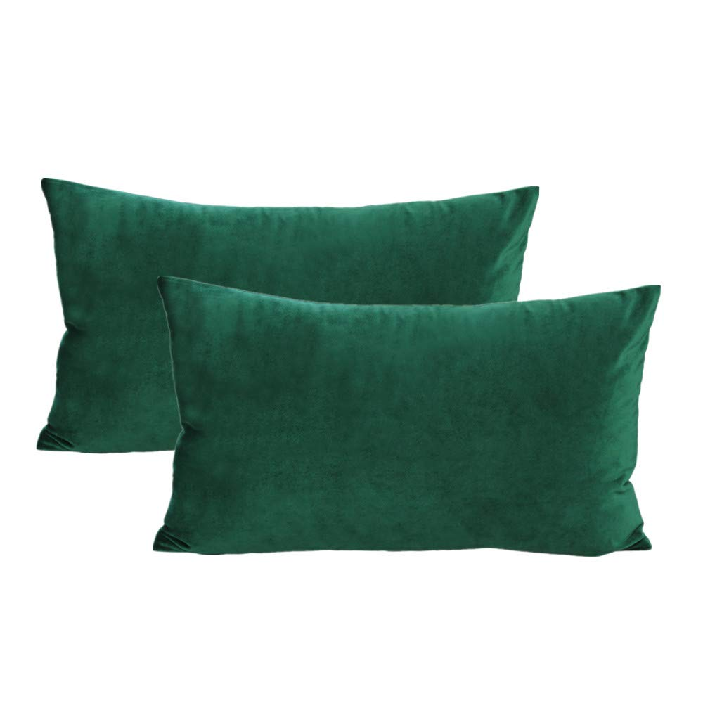 Lumbar Velvet Soft Solid Throw Pillow Cases Decorative Rectangle Cozy Cushion Covers Home Decor for Couch Sofa Car 12x20 Inch Set of 2, Dark Green Emerald Green