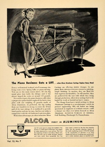 1948-ad-alcoa-aluminum-metal-castings-piano-manufacture-original-print-ad