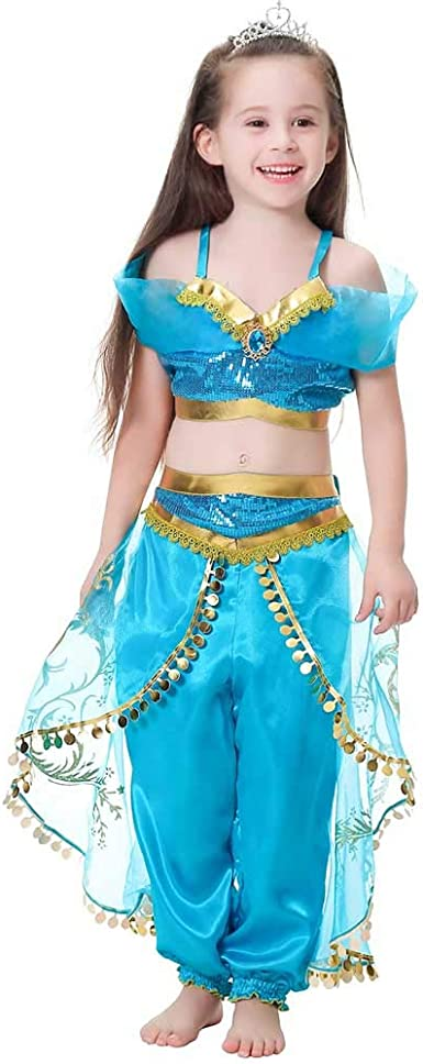 Ecparty Girls Princess Jasmine Costume Halloween Party Dress Up