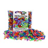 SCS Direct Building Bricks - 1000 Pc Big Bag of Bricks Bulk Glow in The Dark Blocks with 54 Roof Pieces - Tight Fit with All Major Brands