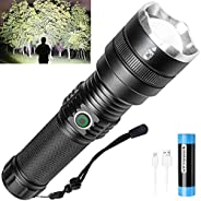 Rechargeable Flashlight with High Lumens, 10000 Lumens LED Bright Flashlight, with 21,700 Batteries, 4 Modes,