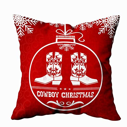 EMMTEEY Home Decor Throw Pillowcase for Sofa Cushion Cover,Christmas red Christmas Card Ball Western American Decorative Square Accent Zippered and Double Sided Printing Pillow Case Covers -
