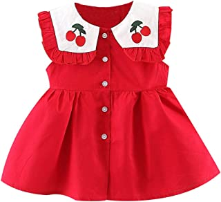 ❤️Toddler Baby Kids Girls Ruched Cherry Dress Princess Dresses Casual Clothes Children'S Sleeveless Frill Doll Collar Print Skirt Red Summer Girl Elegant Ceremony Short Beach Gift For Little Cute