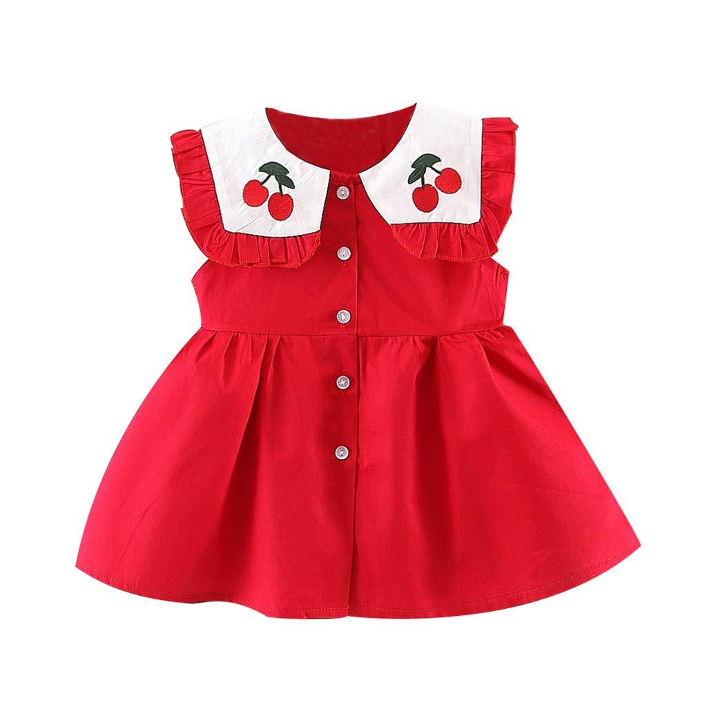 ❤️Toddler Baby Kids Girls Ruched Cherry Dress Princess Dresses Casual Clothes Children\'S Sleeveless Frill Doll Collar Print Skirt Red Summer Girl Elegant Ceremony Short Beach Gift For Little Cute