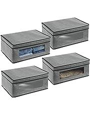 mDesign Stylowe pudełko tekstylne z pokrywą i okienkiem – Materiałowy organizer do szafy lub garderoby – Pudełko do przechowywania odzieży, butów lub akcesoriów – 4-pack – Szary/czarny