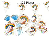 Unicorn Party Supplies Set by Country Outlet: 10-Piece Sets of Unicorn Themed Birthday Party Items|Decorative Birthday accessories for Kids & Adults | Unicorn Tablecloth & Invitations Party Decor Kit