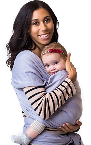 Best Baby Carrier Sling Wrap for Moms - Original Grey Cotton Quality Material - Comfortable, Durable, Fashionable - For Mothers with Infant Newborn to 35lbs Babies - Shower Gift - By Belephant Baby