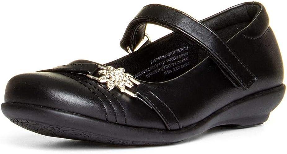 Lilley Girls Black Patent Easy Fasten Shoe