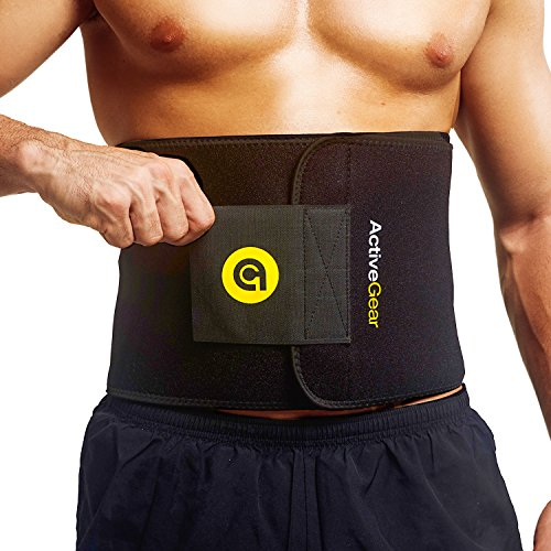 ActiveGear Premium Waist Trimmer Belt Slim Body Sweat Wrap for Stomach and Back Lumbar Support (Yellow, Large: 9