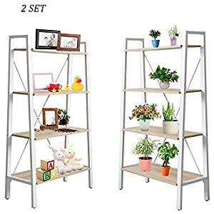 Dporticus 2 Set 4 Tier Modern Ladder Bookshelf Free Standing Open Bookcase Storage Shelf Units Display Stand, Oak and…