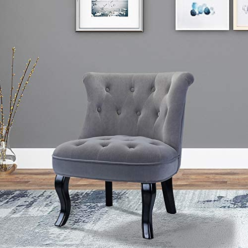 Grey Upholstered Chair Jane Tufted Velvet Armless Accent Chair